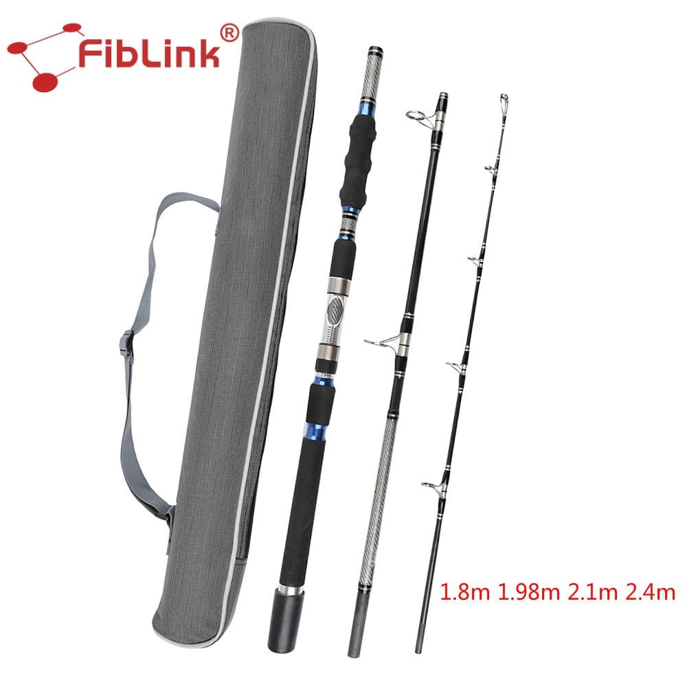 Fiblink Portable Haute Teneur En Carbone Spinning Tige 1.8/1.98/2.1/2.4 m 3 Section Lourd Spin Tige D'eau Salée mer Bateau De Pêche Canne À Pêche Pôle