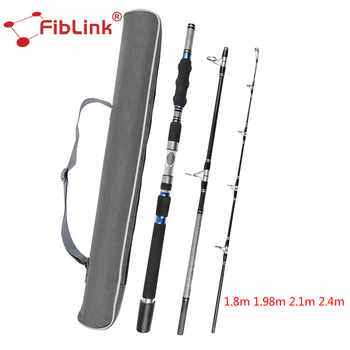 Fiblink Portable High Carbon Spinning Rod 1.8/1.98/2.1/2.4m 3 Section Heavy Spin Rod Saltwater Sea Boat Fishing Rod Fishing Pole - DISCOUNT ITEM  30% OFF Sports & Entertainment