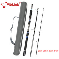 Fiblink Portable High Carbon Spinning Rod 1.8/1.98/2.1/2.4m 3 Section Heavy Spin Rod Saltwater Sea Boat Fishing Rod Fishing Pole