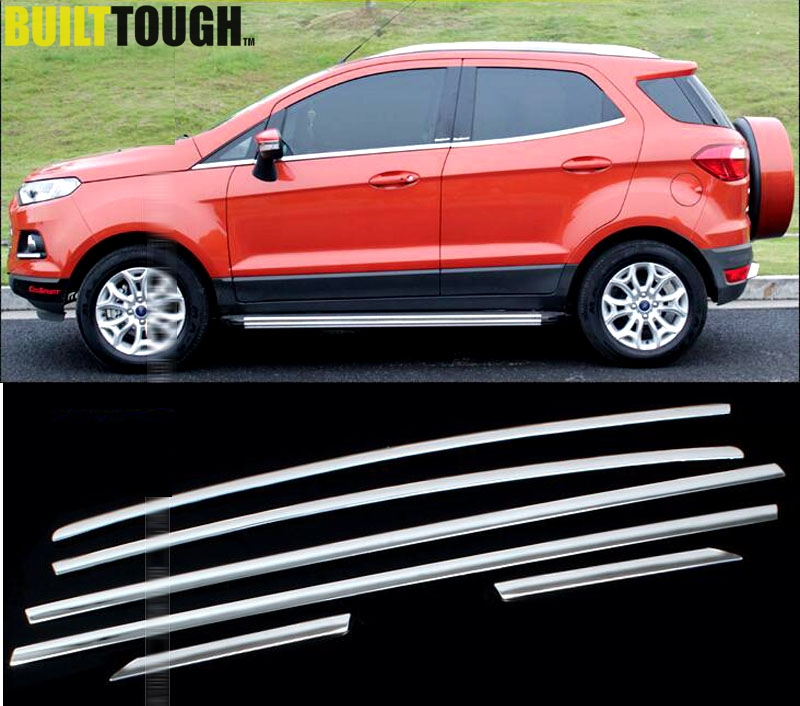 6pcs for ford ecosport 2013 2017 suv stainless steel. Black Bedroom Furniture Sets. Home Design Ideas