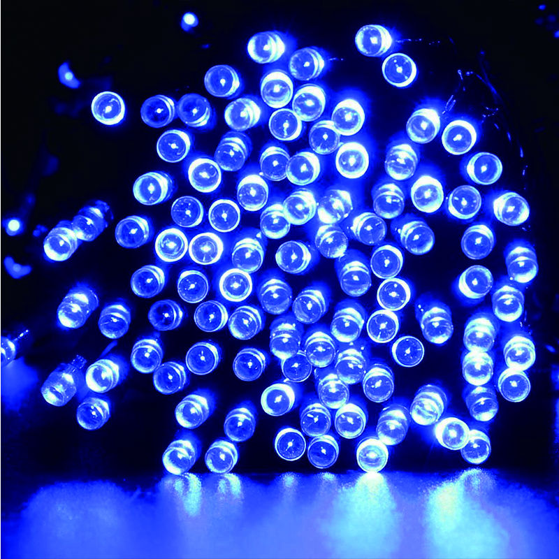 Solar led string lights blue