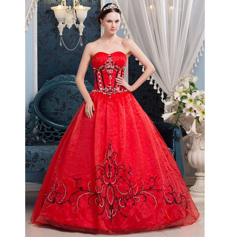 Online get cheap red black wedding gown for Cheap red wedding dresses