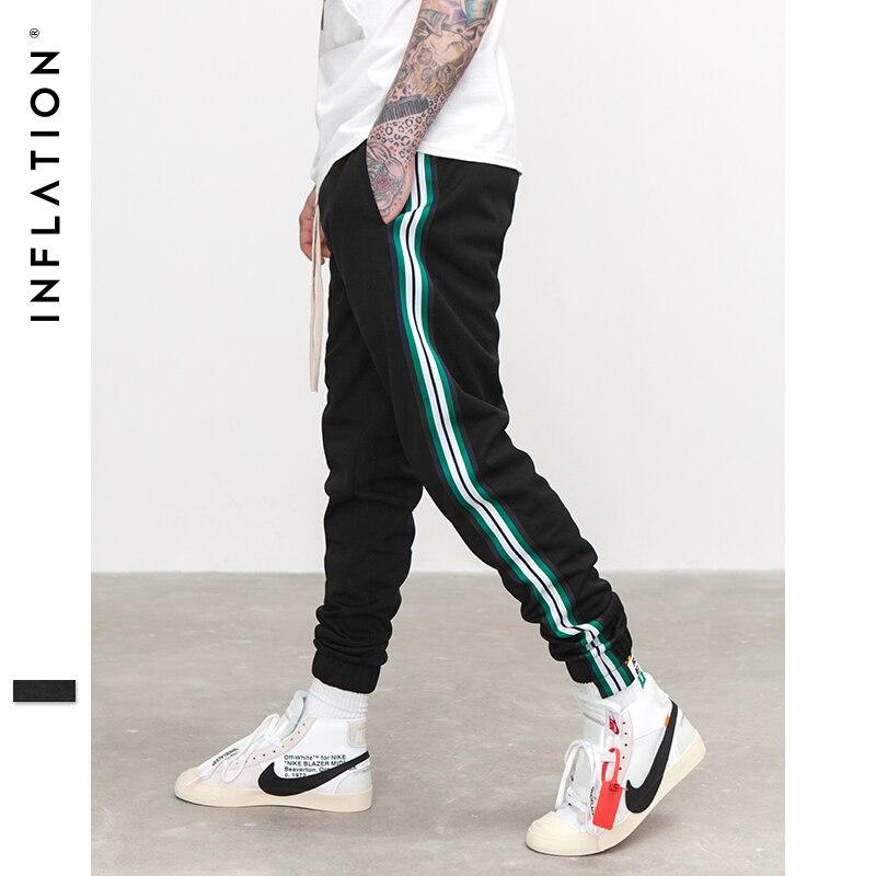 INFLATION Mens Track Pants Elastic Waist Sportswear Pants Side Stripe Contrast Color Highstreet Jogger Black Sweatpants 369W17