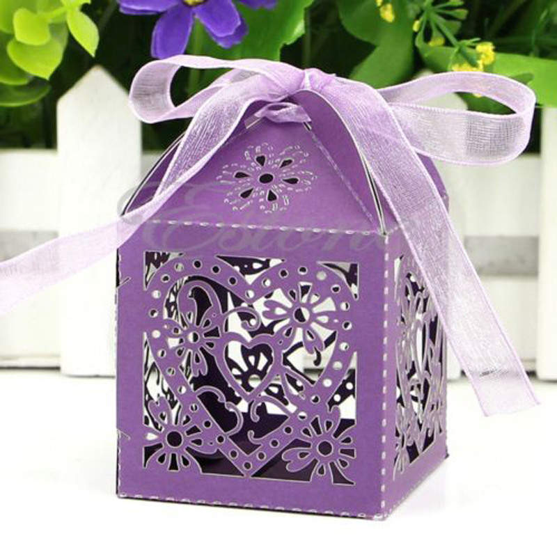 50/100Pcs Love Heart Laser Cut Favor Ribbon Gift Candy Boxes Wedding Party Decor ...