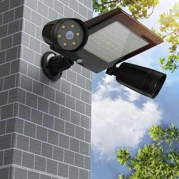 Dropship Impermeable De Energía Solar Luz De Calle 76 LED Cabeza Triple Sensor De Movimiento PIR Luz De Inundación Proyector Lámpara De Jardín Al Aire Libre