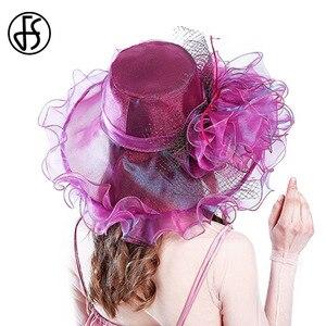 Image 2 - FS Purple Red Big Hats For Women Summer Beach Wide Brim Fedora Elegant Church Hats Flower Kentucky Derby Large Sun Hat Ladies