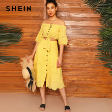 2fc990193 SHEIN Boho Yellow Off Shoulder Embroidered Eyelet Knot Crop Top and Scallop  Edge Buttoned Skirt Sets