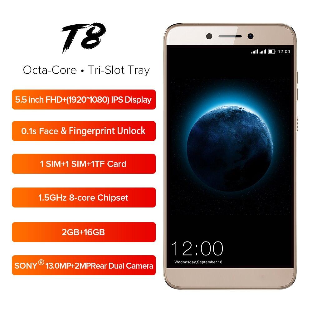 LEAGOO T8 Mobile Phone 5.5 ''FHD 16:9 1920*1080 GB de RAM GB ROM 16 2 Android 8.1 MT6750T octa Núcleo Face ID 13MP 4G OTG Smartphones