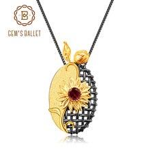 GEMS BALLET 925 Sterling Silver Handmade Sun flower Floral Jewelry Natural Garnet Gemstones Pendant Necklace for Women Wedding