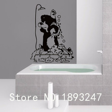 Grooming Salon Vet Clinic Pet Salon Vinyl Wall Decal Dog In Shower Mural Art Wall Sticker Pet Shop Window Glass Decoration
