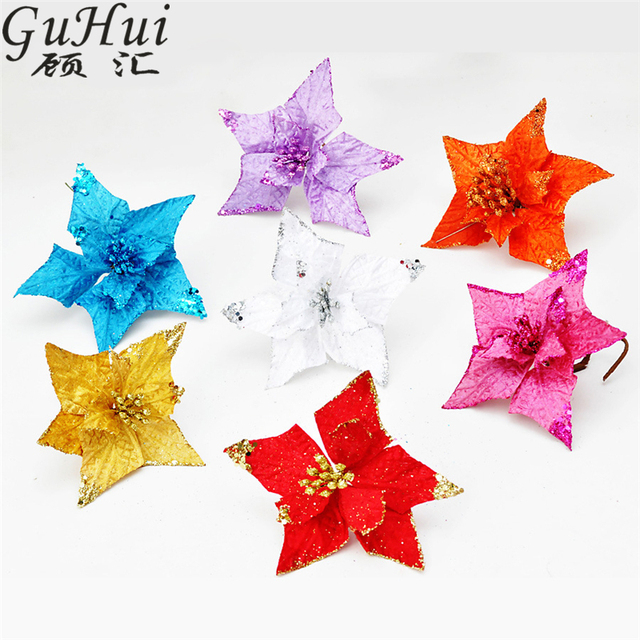 5pcs 15cm Five Pointed Star Shape Artificial Flower With Sticks Christmas Tree Decor New Year