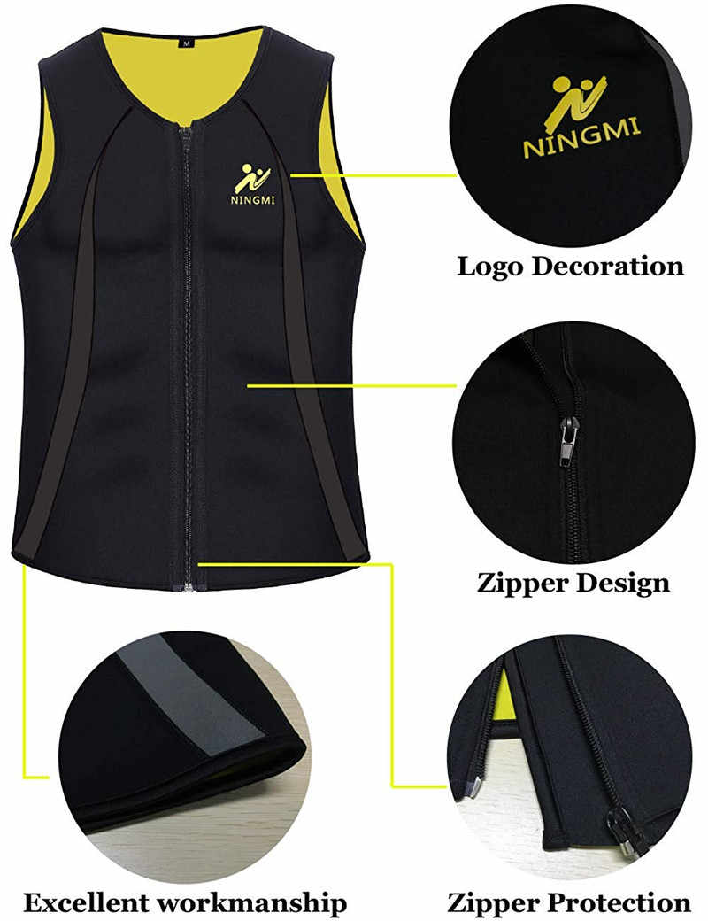 Ningmi mens 슬리밍 조끼 핫 셔츠 피트니스 체중 감소 땀 사우나 슈트 허리 트레이너 바디 셰이퍼 neoprene tank top with zipper