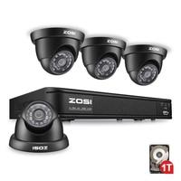 ZOSI HD 720P 4CH CCTV System DVR 4PCS 1280TVL IR Outdoor Video DVR Security Camera System