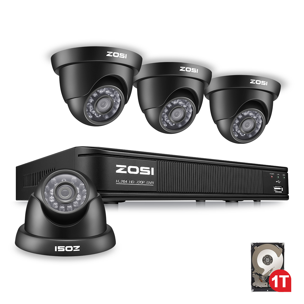 ZOSI 8CH CCTV System 8CH Network TVI DVR with 1TB HDD 4PCS 1280TVL IR Weatherproof Home Security Camera System Surveillance Kits детская футболка классическая унисекс printio лётчик