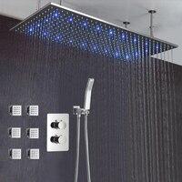 Роскошные Ванная комната потолок светодио дный дождь набор для душа 500*1000 мм матовый большой осадков Насадки для душа 3 способа термостатиче