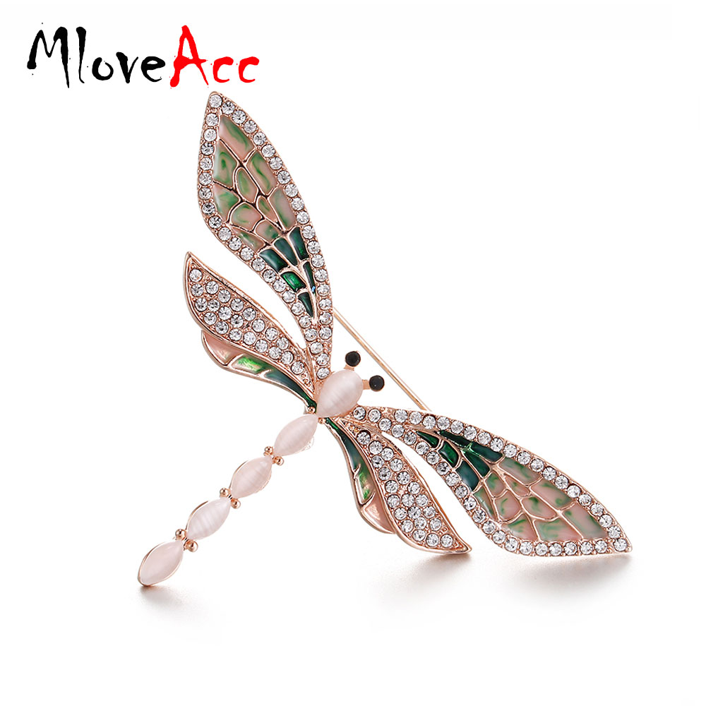 Inspired Shell Tiny Twin Dragonfly Butterfly Insect Rhinestone Pin Brooch