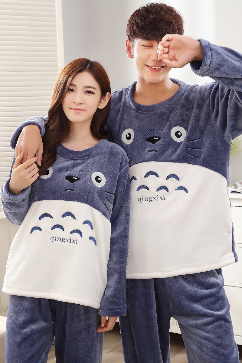 4bc7264fc2 Winter Warm Flannel Women s Pajamas Set Coral Fleece Totoro Cartoon  Sleepwear Men Pyjamas Mujer Lady Casual Home Clothing 3XL-in Pajama Sets  from Underwear ...