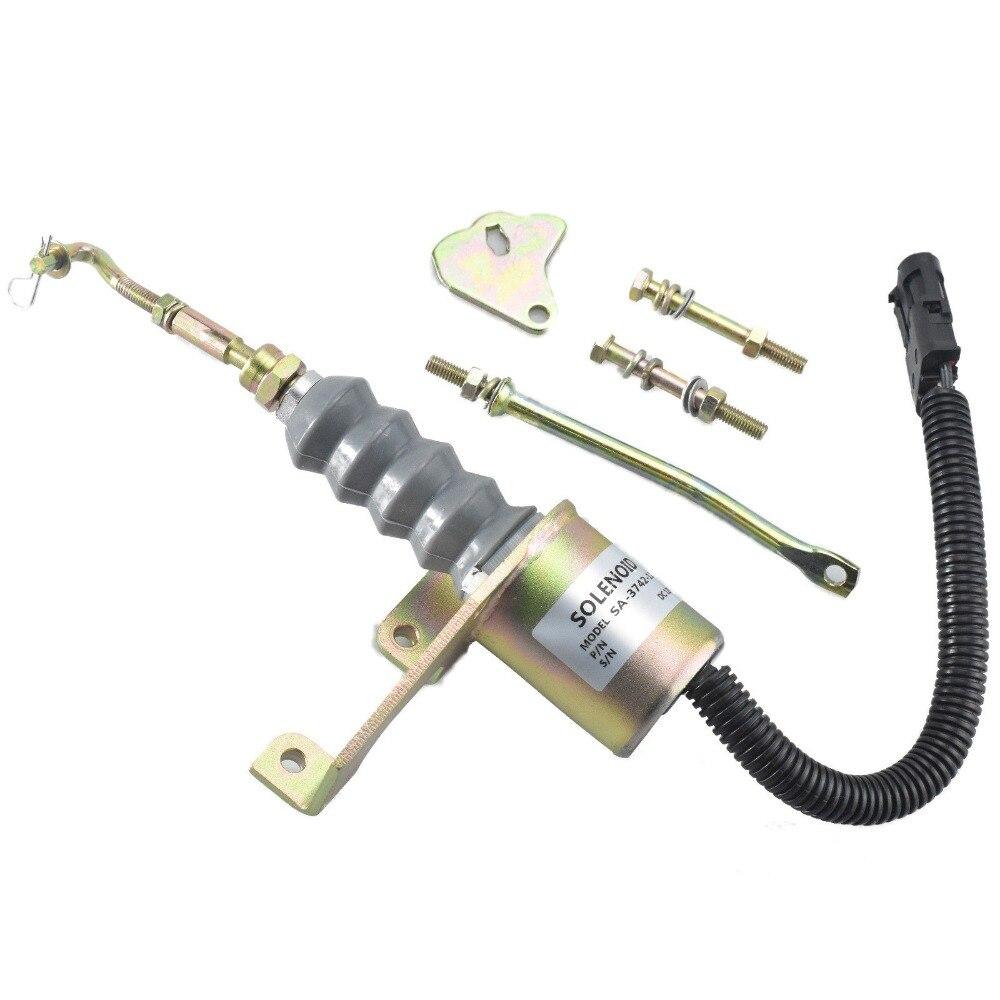 Fuel Shutdown Shutoff Solenoid 1751ES 3974947 for Excavator, 3 month warranty