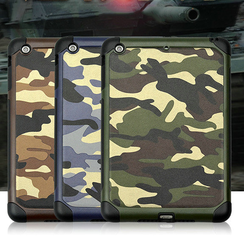2 in 1 Army Camo Camouflage Pattern Back Cover mini123 Hard Plastic And Soft TPU Armor Protective Phone Case For iPad mini 1234 for ipad mini4 cover high quality soft tpu rubber back case for ipad mini 4 silicone back cover semi transparent case shell skin