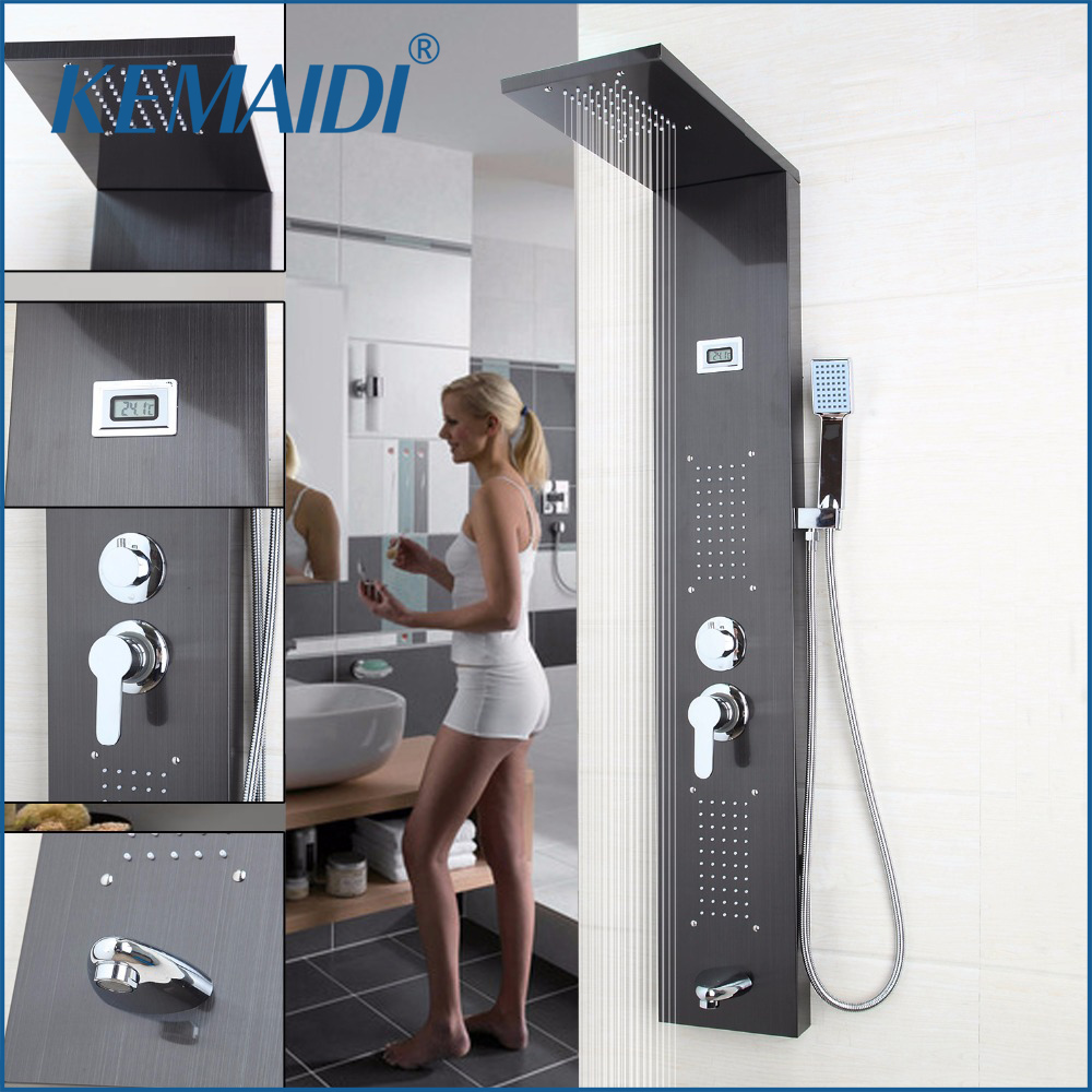 KEMAIDI  New Arrival Bathroom Rainfall Shower Panel Rain Massage System Faucet with Jets Hand Shower Bathroom Faucet Tap Mixer ouboni new arrival bathroom rainfall shower panel rain massage system faucet with jets hand shower bathroom faucet tap mixer