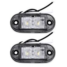 2Pcs 화이트 12V LED 자동차 사이드 마커 테일 라이트 24V 트레일러 트럭 램프 66*28*18mm 고품질 자동 사이드 마커 조명 액세서리