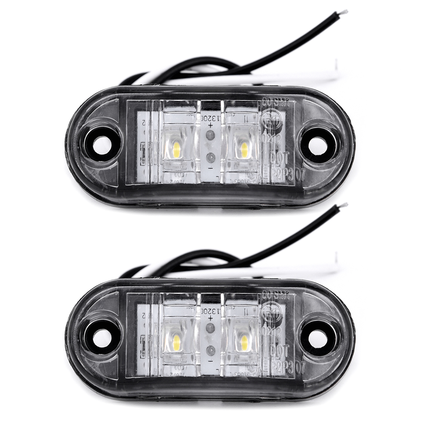 2Pcs/Set White 12V LED Car Side Marker Tail Light 24V Trailer Truck Lamp 66*28*18mm Auto Side Marker Lights Accessories