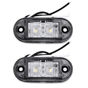 Image 1 - 2Pcs White 12V LED Car Side Marker Tail Light 24V Trailer Truck Lamp 66*28*18mm High Quality Auto Side Marker Lights Accessories