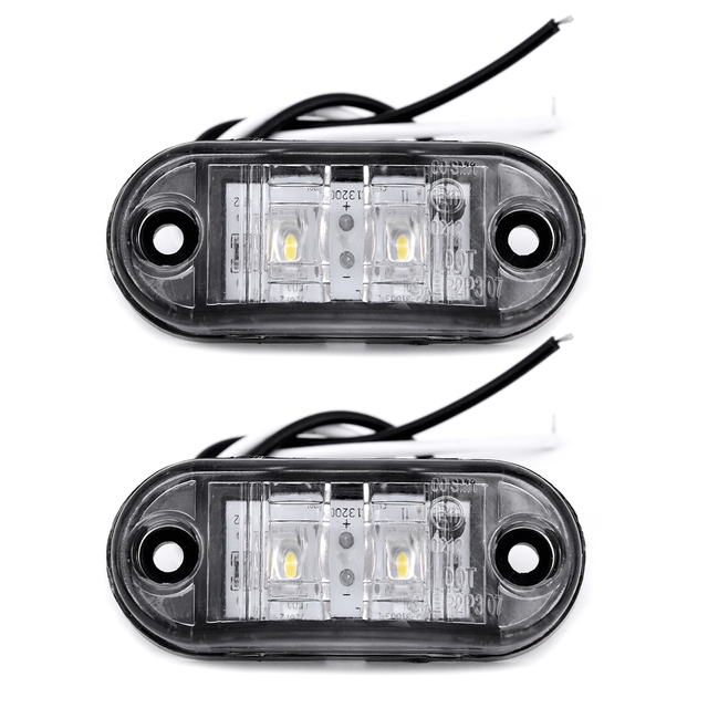 2Pcs White 12V LED Car Side Marker Tail Light 24V Trailer Truck Lamp 66*28*18mm High Quality Auto Side Marker Lights Accessories