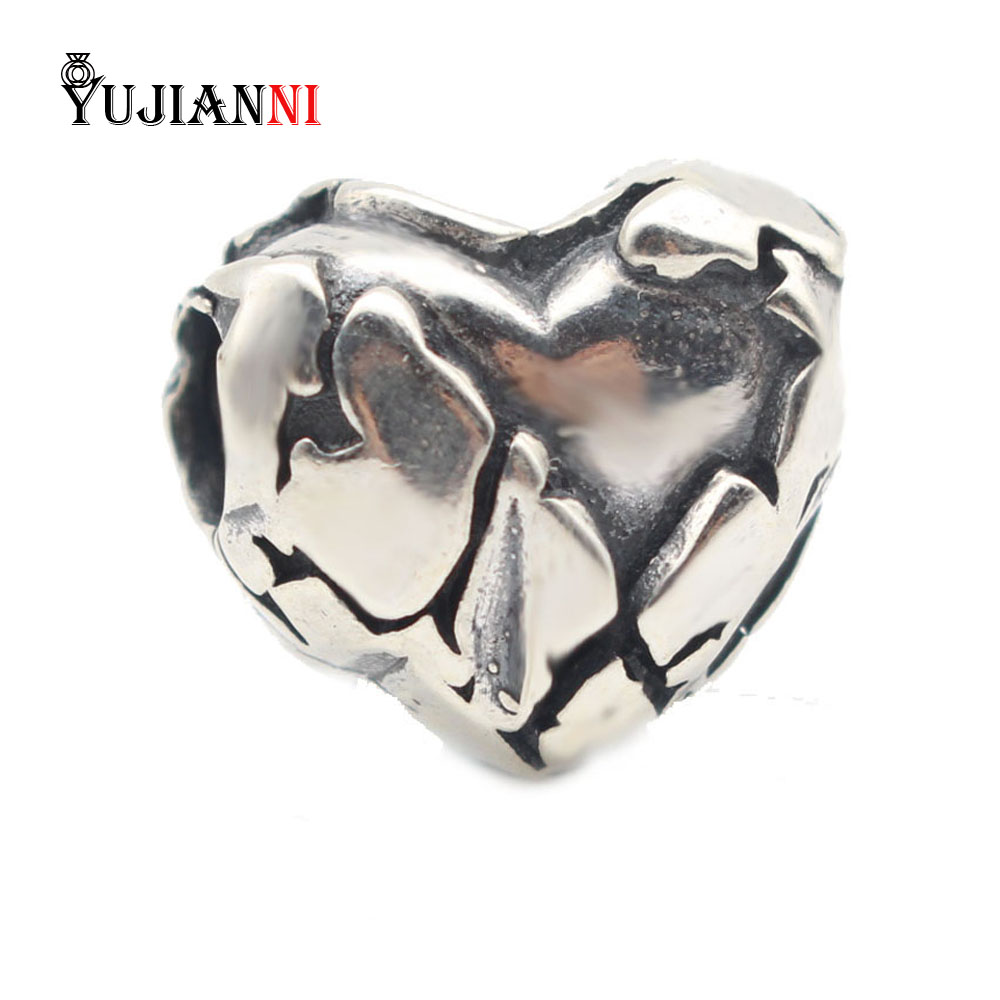 925 Silver HEART OF STONE Beads for DIY Jewelry Making 4 5mm Hole Charm Fits European