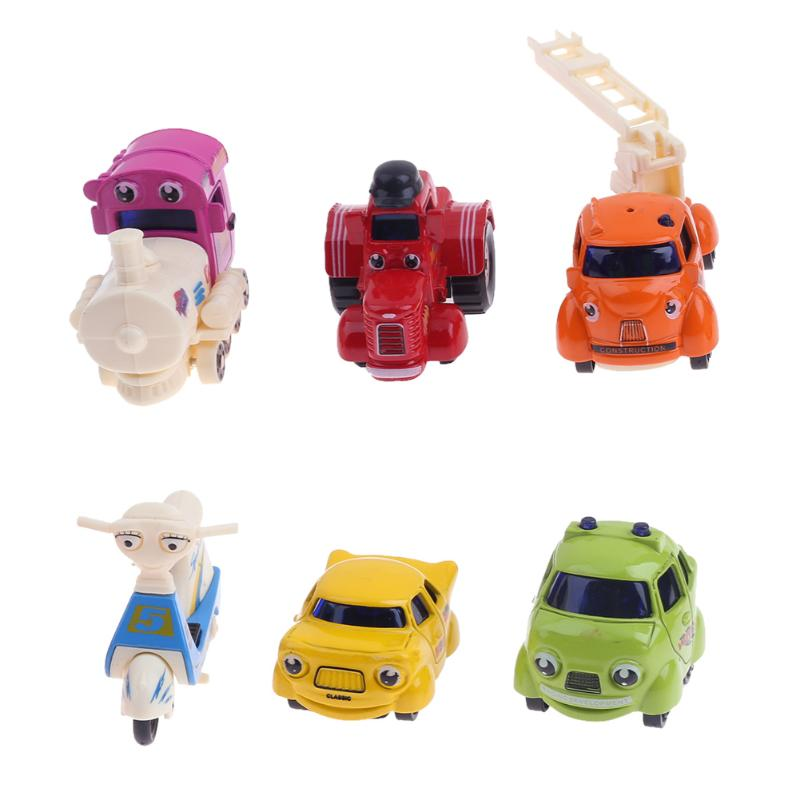 6pcs/set Kids Toys Cartoon Cars Set Mini Metal Alloy Car Model Pull Back Car Toy Baby Educational Toy Vehicle Boy Christmas Gift