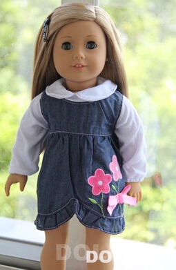 1set= The cowboy dress+coat American girl doll clothes dress fits for 18 american alexander,girls dolls,free shpping
