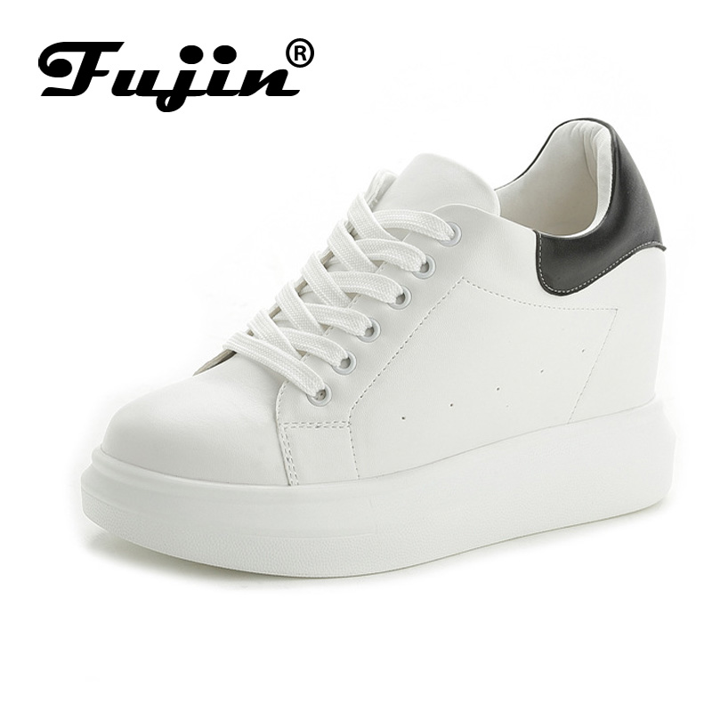 Fujin Brand 2017 Summer Autumn Women casual wedge shoes breathable platform pumps with wedges heel white black female pumps fujin summer autumn winter korean fashion solid leather platform wedge casual shoes women increasing loafers slip on shoes woman