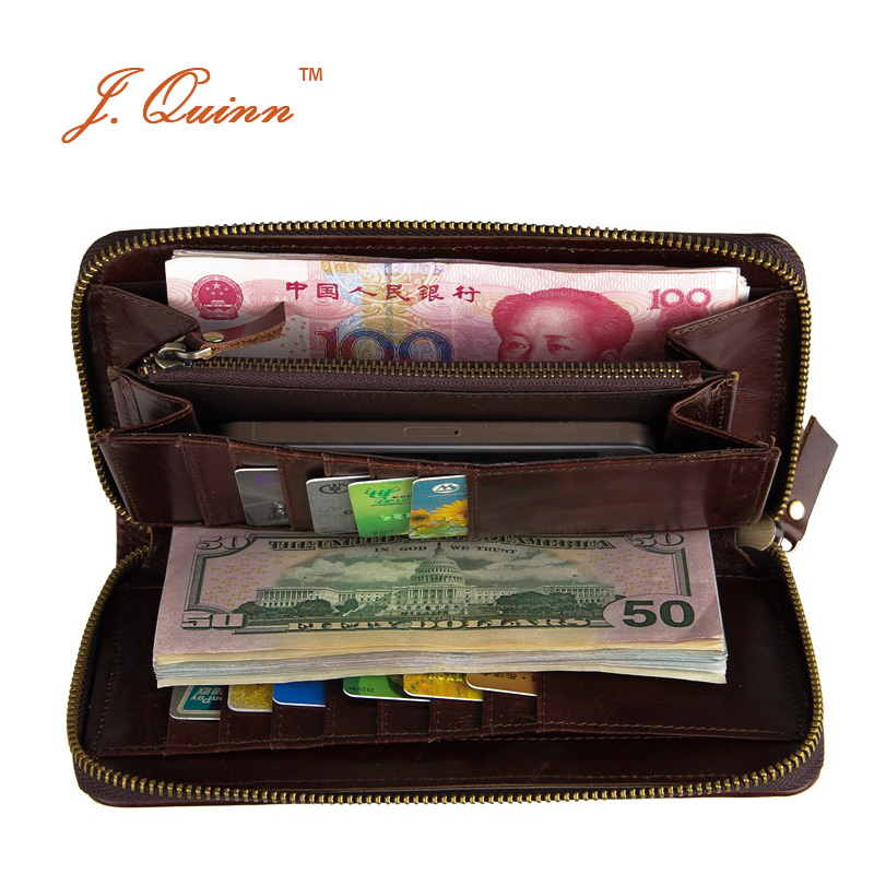 J.Quinn New Womens Zip Around Clutch Wallets Long Genuine Leather Wallet for Woman 15 Cards Holder Currency Money Purse Passport kenneth cole reaction womens napa zip around urban organizer wallet