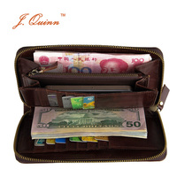 J.Quinn New Womens Zip Around Clutch Wallets Long Genuine Leather Wallet for Woman 15 Cards Holder Currency Money Purse Passport