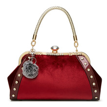 New bags for women patent velour handbags fashion bright leather shoulder bag ladies office work clutch bride red wedding tote