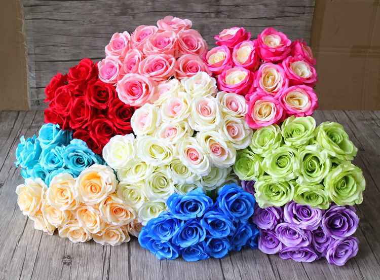 10 heads large roses per bouquet artificial flowers home wedding decoration floral Background