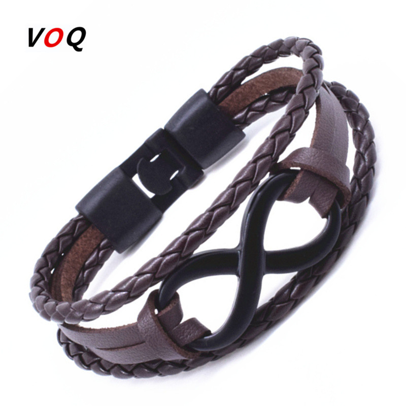 Black Infinite Bracelet Men Women Jewelry High Quality Double Leather Bracelet with Geometric Pattern pulseira masculina