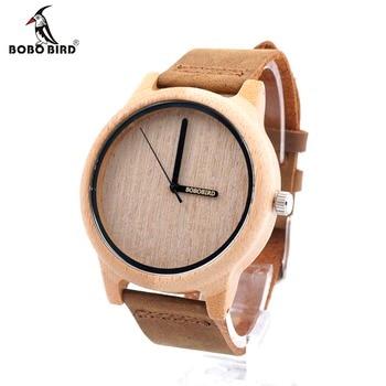 BOBO oiseau A22 bambou bois montre hommes montre-bracelet à Quartz Simple 20mm cuir reloj para hombre