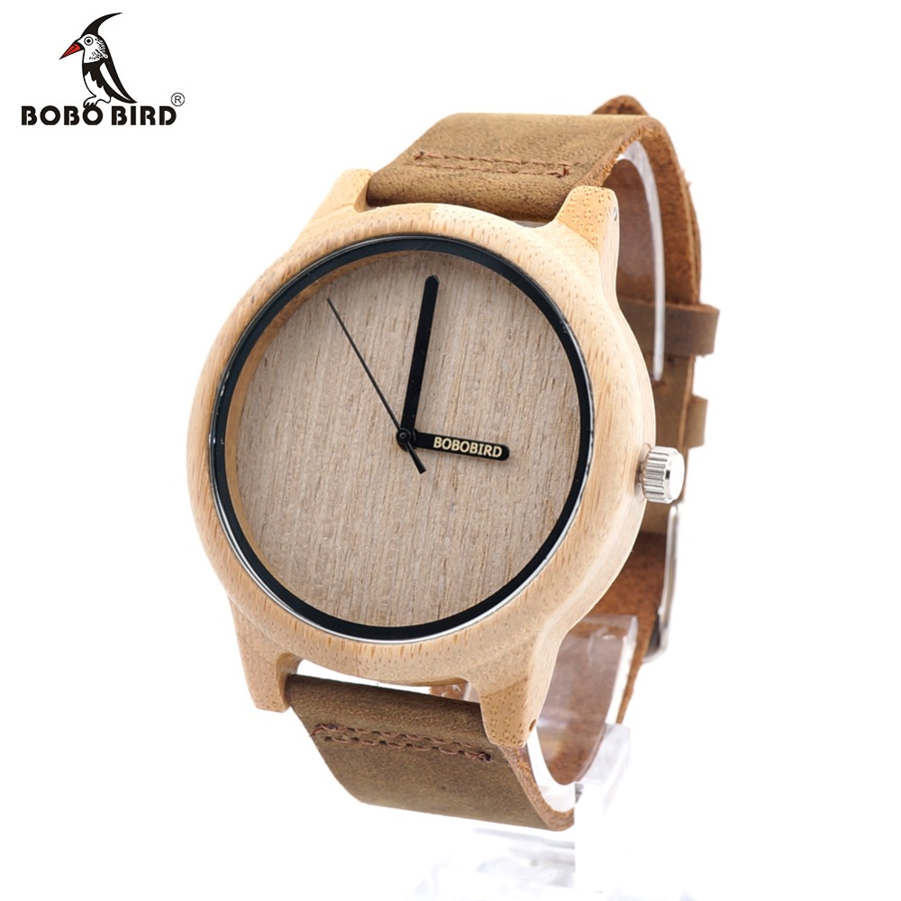 BOBO BIRD A22 Bamboo Wood Watch Män Simple Quartz Armbandsur 20mm Leather Reloj para hombre