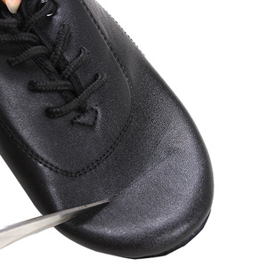 Image 2 - Latin Dance Shoes Boy Men Professional Leather Latin Shoes Black for Kids Low heeled