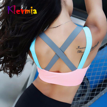Sports Bra Breathable Top Shockproof Cross Back Push Up Workout Bra Women Gym Running Jogging Yoga Fitness Bra Women's Brassiere