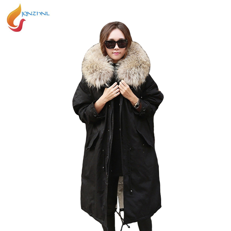 JQNZHNL 2017 New Winter Loose Warm Cotton Coats Parkas Women Big Fur Collar Hooded Casual Thicken