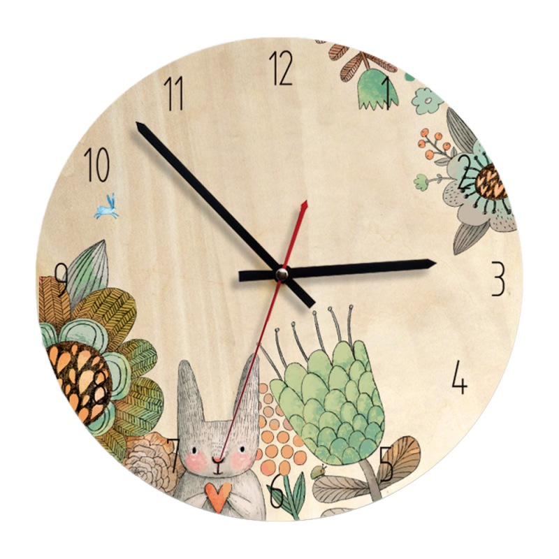 30CM Silent Kids Wall Clock Large Decorative Non Ticking Wall Clock Nordic Style Battery Operated Cartoon Wooden Clock Home