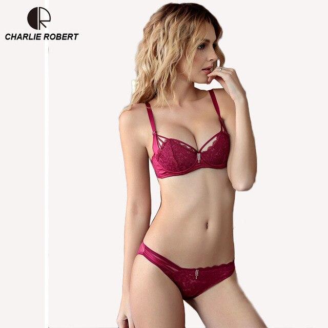 b5e9d73d2c Sexy Ropa Interior de Encaje Conjunto Sujetador de Las Mujeres Delgadas  Transparentes 1 2 Taza más ...