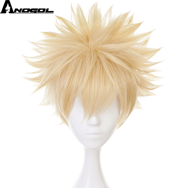 Anogol Anime My Hero Academia Baku No Hero Bakugou Katsuki Short Straight Blonde Synthetic Cosplay Wig For Halloween Costume