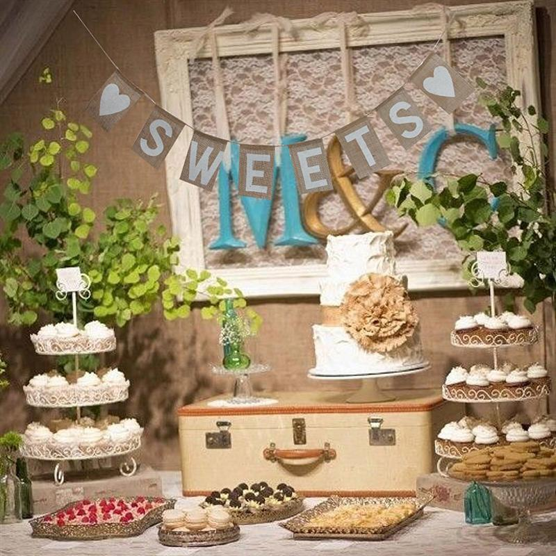 SWEETS Burlap Banner Rustic Country Wedding Hanging Sign Birthday Party Decoration In DIY Decorations From Home Garden On Aliexpress