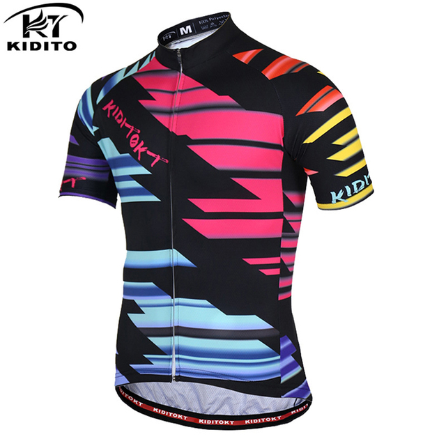 KIDITOKT 100% Polyester 2018 Cycling Jersey Men Summer Quick Dry Short  Sleeves MTB Bicycle Clothing Racing Bike Clothes Ciclismo b07bee14c