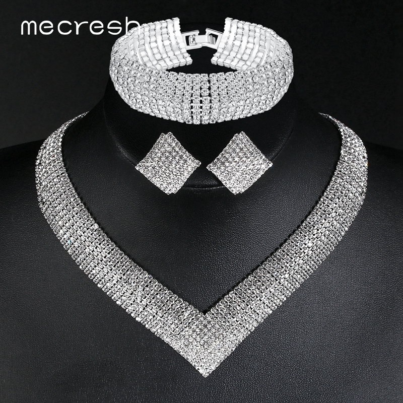 Mecresh Luxury Classic Crystal Bridal Jewelry Set for Women