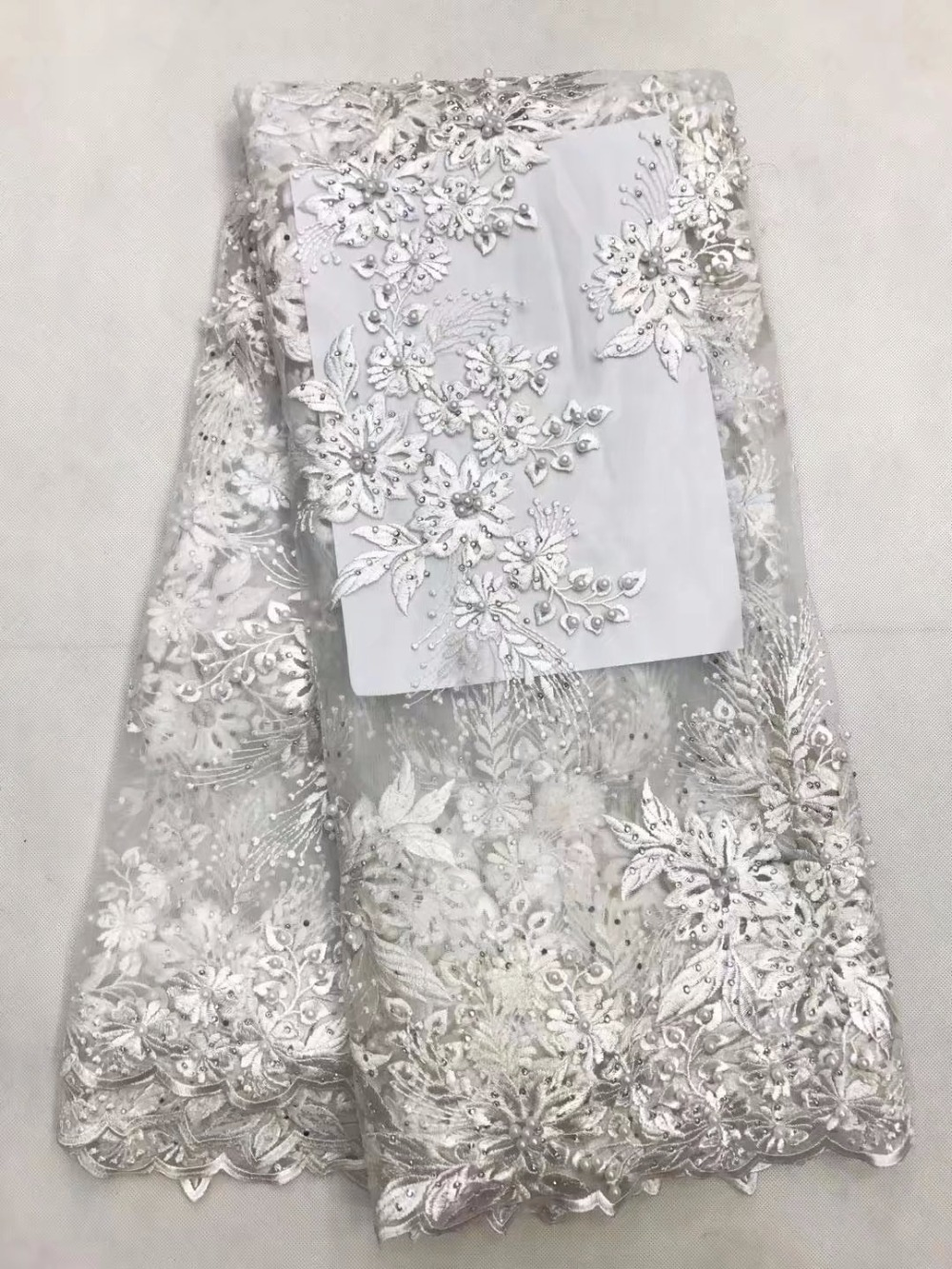 High Quality African Cord Lace With Rhinestones,White Nigerian Guipure Lace Fabrics Women Latest 2017.African lace fabric LY8801