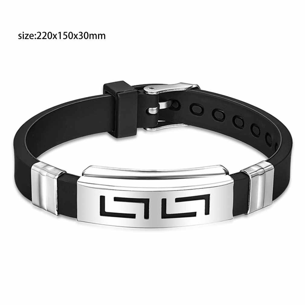 Stainless Steel Hand Chain Jewelry Men Boys Silicone Creative Black Trendcy Shape Classic Bangle Bracelet Fashion Trendcy 2018